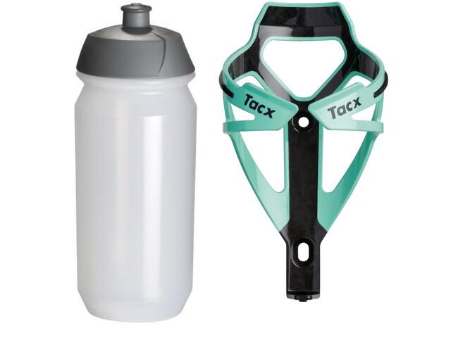 Tacx Deva/Shiva Trinkflasche + Halter celeste/transparent